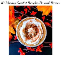 10 Minutes Swirled Pumpkin Pie with Pecans : These delicious and effortless pies make a great snack for the whole family. A healthier dessert option too.