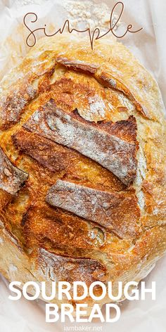 Using a homemade sourdough starter and just a few ingredients, you can have a deliciously crusty fresh baked loaf of Simple Sourdough Bread. Sourdough Bread Starter, Sourdough Recipes, Artisan Bread Recipes, I Am Baker, Easy Bread, Bread Baking, Cooking Recipes, Vegetarian Recipes, Restaurants