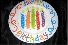 Going to paint a birthday plate today! Here's an idea