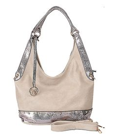 Look at this Sand & Silver Dual-Tone Studded Hobo on #zulily today!
