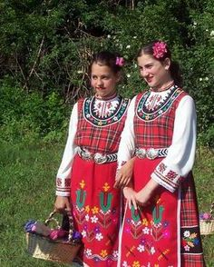 Bulgarian girls in traditional costume.