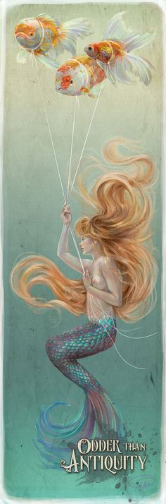 10x30 Mermaid with Goldfish Balloons Underwater Original Illustration Extra Large Long Vertical Poster by Miss Tak