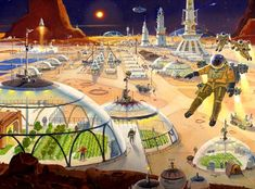 A future city on Mars, illustrated by Robert McCall, Future City, Sci Fi Stadt, Sci Fi Kunst, Science Fiction Kunst, Sci Fi City, 70s Sci Fi Art, Classic Sci Fi, Futuristic City, To Infinity And Beyond