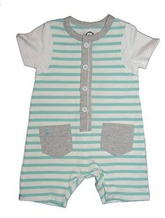 Jean Bourget Green Stripe Baby Onesie from Jean Bourget - France at Pumpkinheads