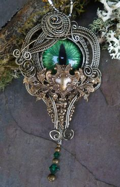 Gothic Steampunk Green Evil Cat Eye Pin by twistedsisterarts, $119.95