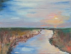 Abstract oil painting of river in the field by AlinaMadanPaintings