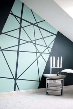 Creating an accent wall can be more than just adding paint color. See five inspiring accent wall ideas that can totally transform any room in your home. Modern wall paint design home decor idea Diy Wall Painting, Creative Wall Painting, Wall Paintings, Painting Accent Walls, House Painting, Painted Wall Art, Paint Walls, Light Painting, Wall Patterns
