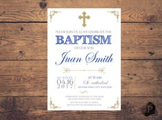 Royal blue baptism invitation, silver and gold, bautizo chico, bautizo bebe, cristianismo, imprimible, tarjetas, printable, azul by LaminitasPrintables on Etsy