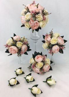 Hand-tied Dusty Pink Peony/Cream Rose Flowers Bridal Wedding Bouquet Set