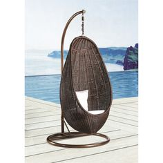 The rattan wicker hanging chair with stand is a striking example of high design for your outdoor (or indoor) living space. This hanging chair is made from all-weather resin, It comes complete with weather-loving cushions.