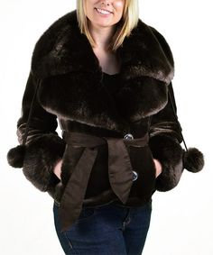 Loving this Brown Faux Fur Jacket on #zulily! #zulilyfinds