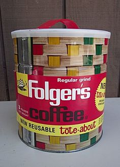 Vintage 1963 Folger's Coffee Tin NEVER OPENED Tote-about Basket Weave found on Ruby Lane