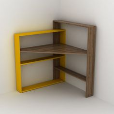 Pisagor Köşe Masa (Ceviz-Sarı) - Rafevi