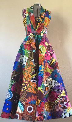 Reversible African Wax Print Coat Dress Double Patchwork Pumpkin Spice and Brilliant Color Latest African Fashion Dresses, African Print Dresses, African Print Fashion, Africa Fashion, Fashion Prints, Modern African Dresses, African Attire, African Wear, Plus Size Shirt Dress