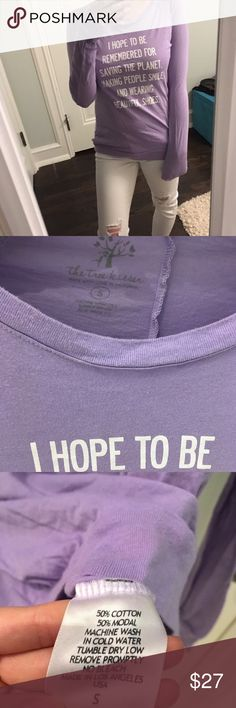 The Tree Kisser Violet Quote Long Sleeve Tee 🎁Offers encouraged & flexible                                                                                🔑Bundle to save                                                                                                  👍Like for price drop notifications                                     EUC, no stains spots or loose threads. Semi stretch, soft & cute long sleeve tee. The Tree Kisser supports animal advocacy organizations like Toronto Pig…