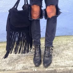 Black black black today #thebohobazaar #fringe bag #TogaPulla boots and some @oneteaspoon_ by tashsefton