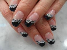 Black and lace! French nails.