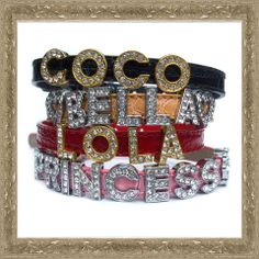 Unique personalised dog collar, silver or gold letters, a range of 4 different designs.