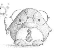 Harry Potter Penguin by B-Keks on DeviantArt Spring time = penguin time ! Seems .Harry Potter Penguin by B-Keks on DeviantArt Spring time = penguin time ! Seems as if they have finished their hibernation Cool Art Drawings, Pencil Art Drawings, Art Drawings Sketches, Disney Drawings, Cartoon Drawings, Animal Drawings, Easy Drawings, Drawing Ideas, Drawing Drawing
