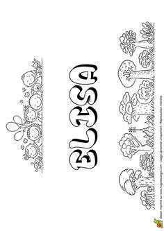 Dessin à colorier du prénom d'Elisa style Bulles de savon