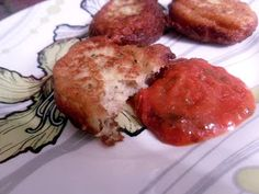 Eggplant Patties -- easy yumminess.  Sort of a reconstructed Eggplant Parmesan.