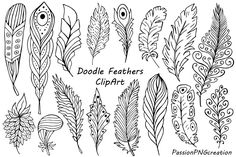 Big Set of Hand Drawn Feathers Clipart, Digital Feathers clip art, Doodle feathers. Feather Clip Art, Feather Drawing, Stylo 3d, Muster Tattoos, Leaf Clipart, Wood Burning Patterns, Feather Pattern, Rock Art, Doodle Art