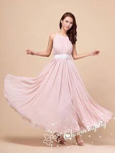 c373cd79f3a 110 Colors Chiffon Pink Long Dress