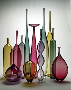 Borealis Studios is made up of vermont artists glassblower Devin Burgess and potter Jerilyn Virden. Their pottery and glass studios are in Greensboro, in the northeast kingdom of Vermont. Glass Ceramic, Mosaic Glass, Glass Bottles, Glass Vase, Vase Deco, Glas Art, Stained Glass Designs, Bottle Design, Stained Glass Windows