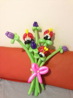 A birthday bouquet request.... Ladybugs n Tulips! #balloons