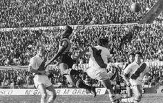 Penarol 2 River Plate 0 in Aug 1966 in Montevideo. Action from the Estadio Centenario in the Copa Libertadores Final, 1st Leg.
