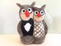 Needle felted Owl wedding cake topper owl bird by Felt4Soul