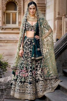 Bridal lehenga designs for brides to be Designer Bridal Lehenga, Bridal Lehenga Choli, Indian Lehenga, Green Lehenga, Indian Bridal Outfits, Pakistani Bridal Dresses, Indian Dresses, Punjabi Wedding, Indian Clothes