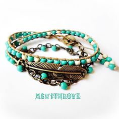 Bohemian bronze feather wrap bracelet turquoise by MSwithlove