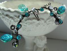 Ear Cuf Ear Vine Teal Aqua Blue Zircon by Lilacmoonjewelry on Etsy