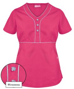 Butter-Soft Scrubs by UA™ Empire Waist Y-Neck Top w/ Rhinestone Detail This scrub top features a y-neckline and contrast piping, offering a more distinguished shape to any scrubs collection! Uniform Advantage, Scrub Tops, Chefs, African Fashion, Scrubs, Neckline, Jackets, Style, Nurse Practitioner