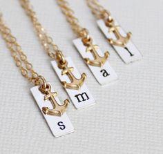 Anchor Bridesmaid Gifts, Set of 4, Beach Bridesmaid Jewelry, Nautical Wedding Bridesmaid Necklaces