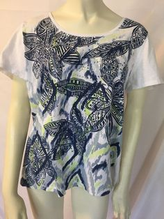 bab729c7a55a90 Chicos Size 2 Medium Cotton Stretch Knit Embellished T Travel Top Shirt Tee