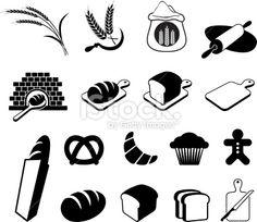 Bread black and white royalty free vector icon set Royalty Free Stock Vector Art Illustration