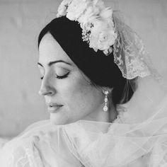 Photo Tonhya Kae Photography,  Makeup & Hair by Nika & Angelica for Nika Vaughan Bridal Artists,  Custom Wedding Dress & Mantilla: Veronica Schaeffer.  Location: Nellcote Chicago