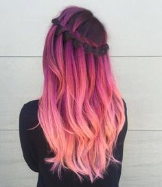 Pink purple and peach ombré hair