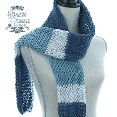 Denim Knitted Net Scarf  Navy Blue by HanzeePanzeeCreation on Etsy