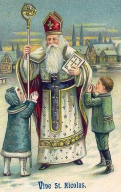 Victorian Religious Father Christmas Santa with Small Children Counted Cross Stitch or Counted Needlepoint Pattern Old Christmas, Victorian Christmas, Father Christmas, Vintage Christmas Cards, Christmas Pictures, Scandi Christmas, Santa Pictures, Holiday Images, Christmas Postcards