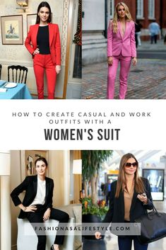 In this article, you'll learn how to complement a women's suit with accessories and how to stylize it in order to create casual looks and work/formal outfits.Your options are endless! It's all up to you and how you wanna look! Formal Outfits, Chic Outfits, Fashion Outfits, Fall Outfits, Suits For Women, Clothes For Women, Fashion Advice, Fashion Bloggers, Clothing Staples
