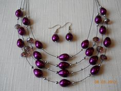 """11"""" Four Strand Purple and Silver Wire Necklace and Earrings. $16.50, via Etsy.    Possible jewelry?"""