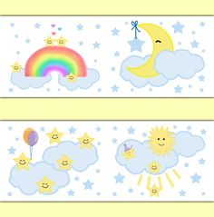 MOON STAR BORDER Nursery Decal Wall Art Neutral Baby Stickers Decor Girl Boy Shower Gift Cloud Rainbow Decorations Kids Childrens Bedroom #decampstudios