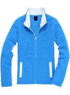 Peacock Blue Collision Color Slim Collar Cardigan Sweatshirt$43.00