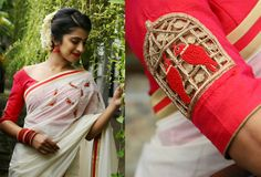 kokilah - Off-white handloom saree with thread embroidered birds on the shoulder area along with gold and pink 3 lines of border all around, paired with pink wide neck blouse with a cut-work motiff on the sleeves. Kerala Saree Blouse Designs, Choli Blouse Design, Lehenga Designs, Blouse Back Neck Designs, Fancy Blouse Designs, Kasavu Saree, Handloom Saree, Onam Saree, White Saree Blouse