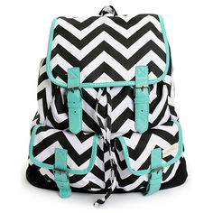If you've got a new found love for zigzag, let it shine with the Empyre Girl Serene Chevron Striped rucksack backpack for back to school. This black and white chevron stripe print pack features a fully lined main compartment, two open side pockets, and a front flap pocket for your small stuff. With a drawstring cinch closure, magnetic snaps, and mint PU trims, the Emily Empyre backpack has a dangerously good look.