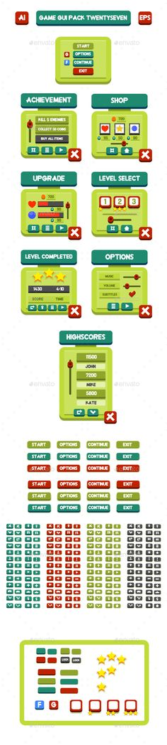 Game GUI Pack TwentySeven Template Transparent PNG, Vector EPS, AI Illustrator. Download here: http://graphicriver.net/item/game-gui-pack-twentyseven/16876200?ref=ksioks