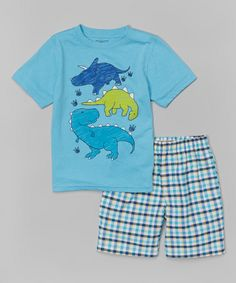 Look at this #zulilyfind! Kids Headquarters Light Blue Dino Tee & Plaid Shorts - Toddler by Kids Headquarters #zulilyfinds